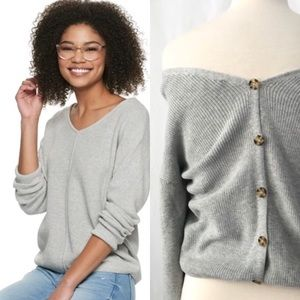 Pink Republic Gray Ribbed Button Back Crop Sweater